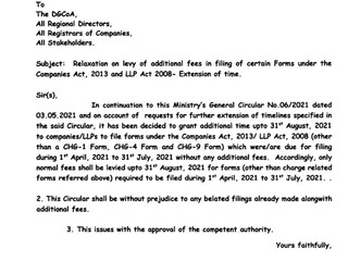 MCA relaxes Levy of Additional Fee in Filing of Certain Forms under Companies Act, 2013
