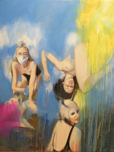 Danaé, 2020, huile sur toile, 150 x 150