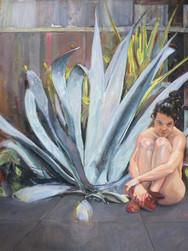 La Fée Clochette au fond du jardin, 2010, huile, 150x150 cm