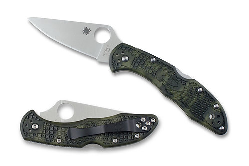 SPYDERCO DELICA 4--LIGHTWEIGHT ZOME GREEN HANDLE/PLAIN EDGE