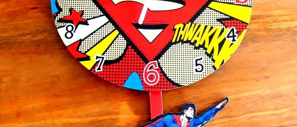 Relógio de parede pêndulo Super Man