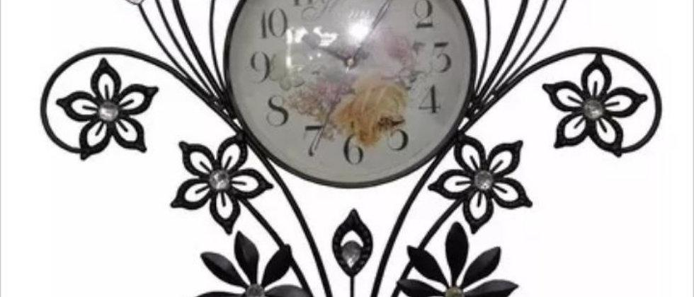 Relógio de parede vintage retro flores strass