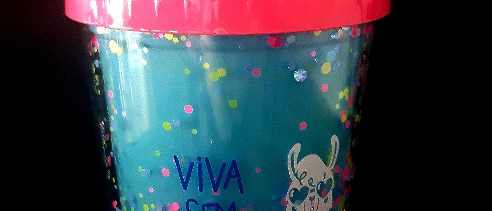 Mini copo lhama com confete