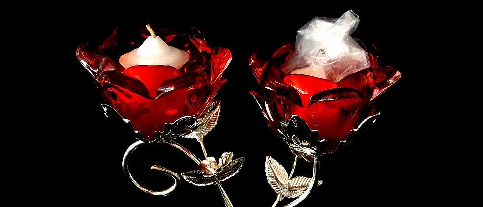 Castiçal com duas flores