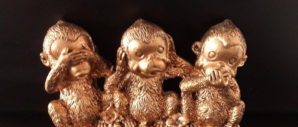 Trio Macacos Sábios Dourado - Cego, Surdo E Mudo Estatueta