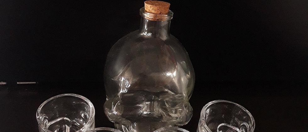 Kit 4 copos + 1 garrafa vidro caveira 450 ml dose viking