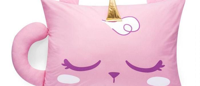 Almofada com aplique gato unicórnio