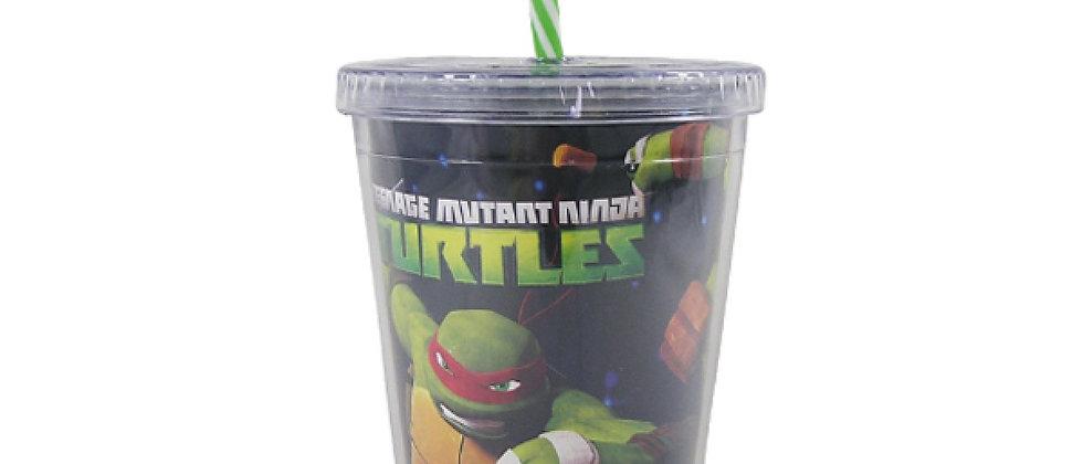 Copo com canudo tartarugas Ninjas