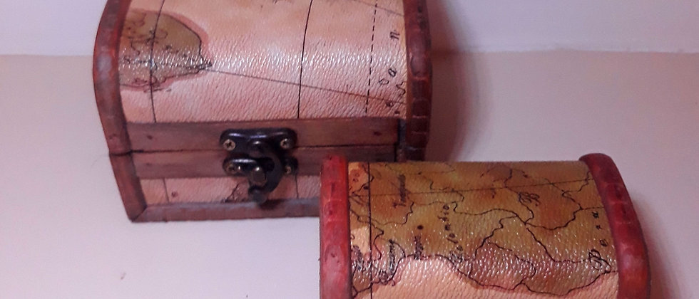 Caixa baú de madeira 2 peças Retro