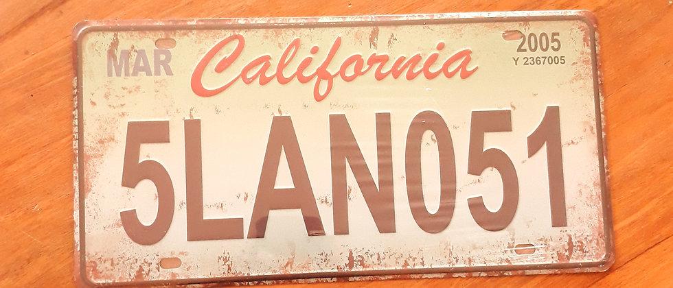 Placa de carro Califórnia