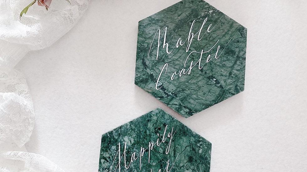 MARBLE COASTER IN CALLIGRAPHY NAME ( WHITE / GREEN MARBLE) 雲石手寫杯墊