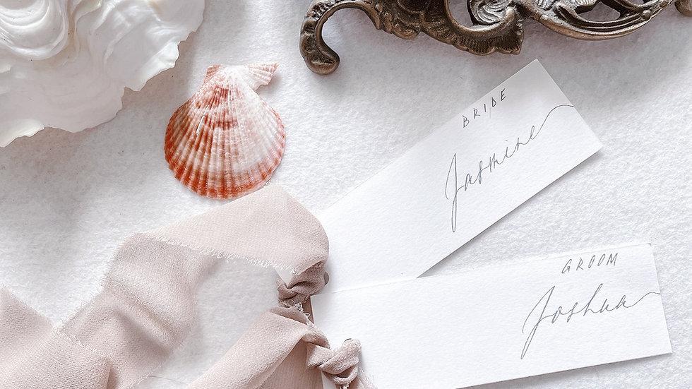 SILK RIBBON + WEDDING ESCORT CARD (10's pack) - WITH LOVE
