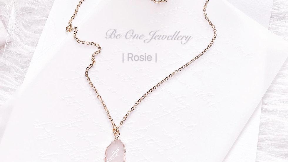 ROSIE - ROSE QUARTZ NECKLACE 天然粉晶頸鏈 配客製手寫字母