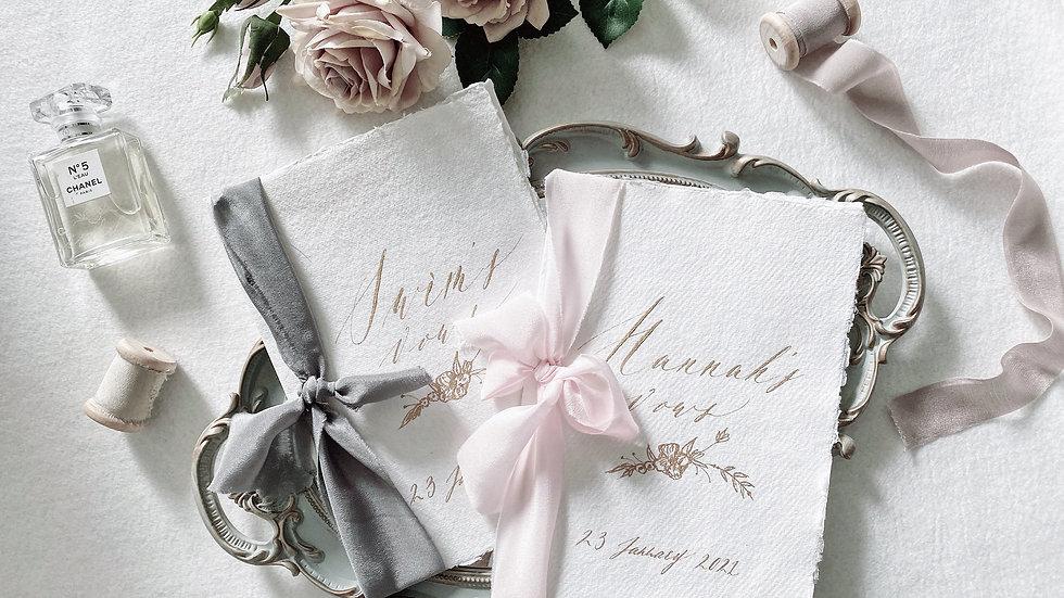 手工紙絲帶婚禮誓言本   (一組2入)  HANDMADE VOWS BOOKS (PAIR)  | VOWS BOOK
