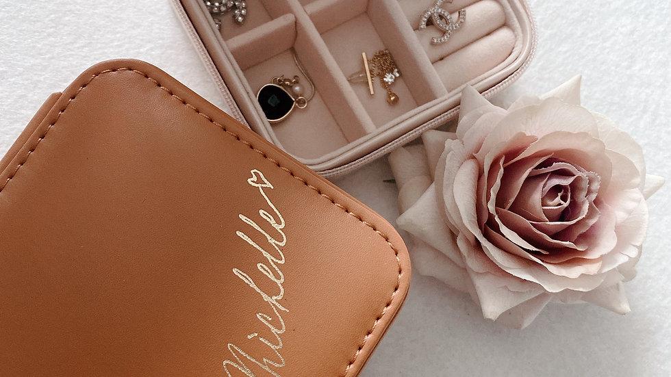 Luxury  Leather Mini Jewellery Box- vintage Brown