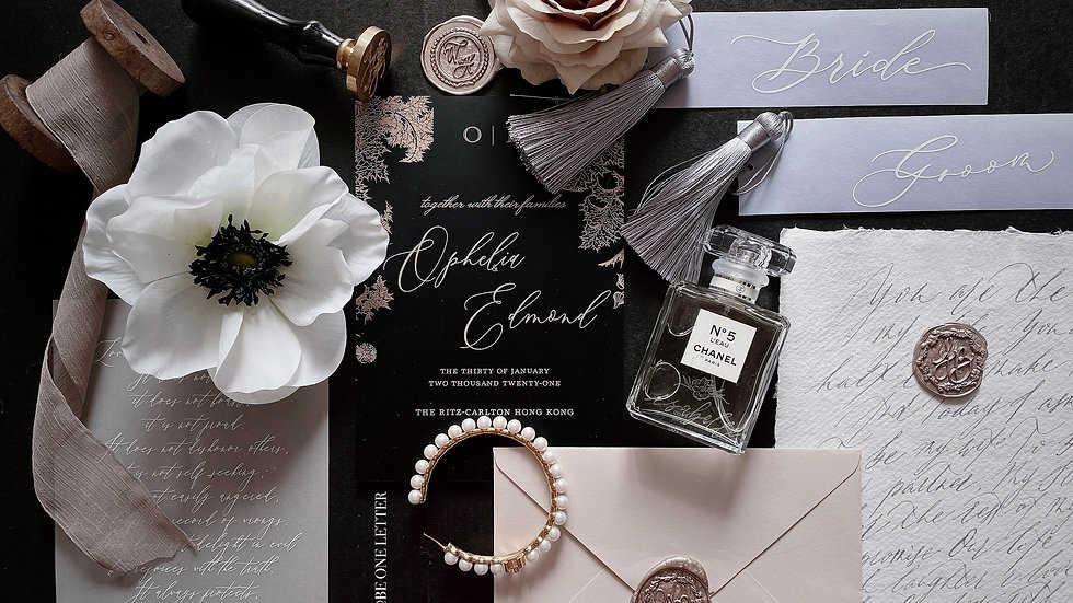 [Black & Gold] MATT ACRYLIC WEDDING INVITATION COLLECTION