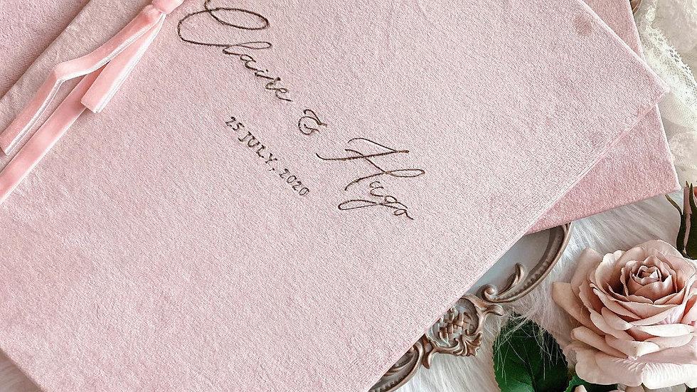 CUSTOM VELVET MARRIAGE CERTIFICATE FOLDER (5 Colors)  客製復古絲絨婚禮證書套   - 客製名字及日期