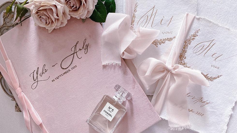 證婚套餐-絲絨結婚證書套 + 婚禮誓言本(一對)MARRIAGE CERTIFICATE + VOWS BOOKS