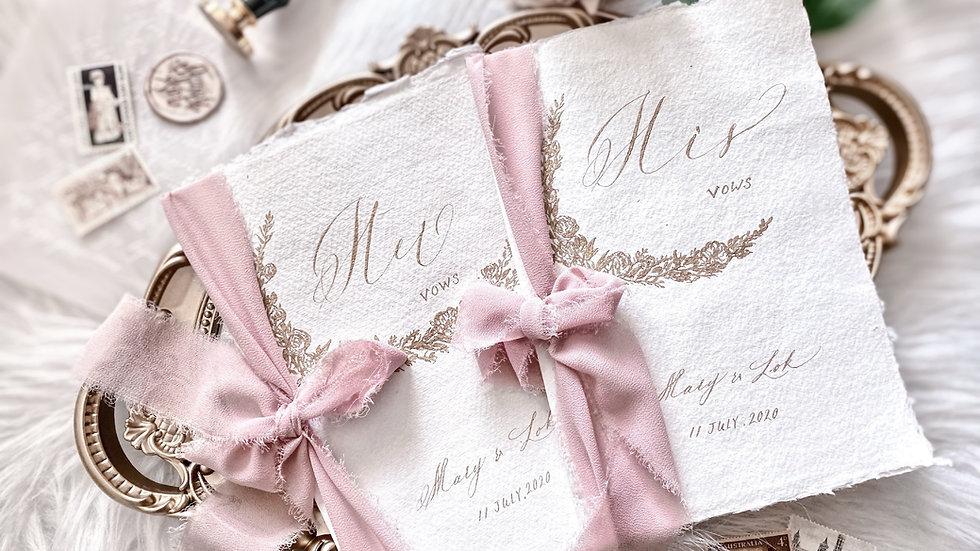 HANDMADE VOWS BOOKS (PAIR) 手工紙絲帶婚禮誓言本   (一組2入)  | VOWS BOOK