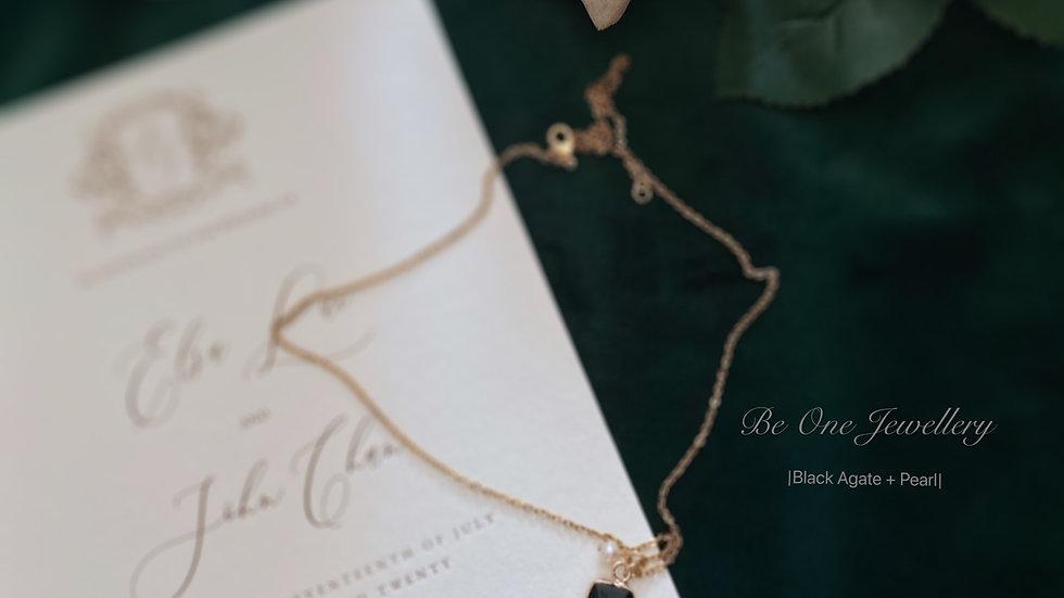 ECLIPSE - Black Agate Necklace 長型黑瑪瑙復古頸鏈 配客製手寫字母
