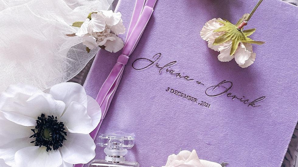 絲絨結婚證書套  VELVET MARRIAGE CERTIFICATE FOLDER (5 Colors)  客製復古絲絨婚禮證書套   - 客製名字及日期