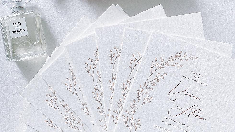 WEDDING INVITATION CARD - FLORAL WREATH ( MIN 50)