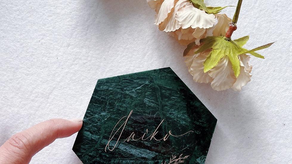 MARBLE COASTER IN CALLIGRAPHY NAME ( WHITE / GREEN MARBLE) 雲石手寫杯墊