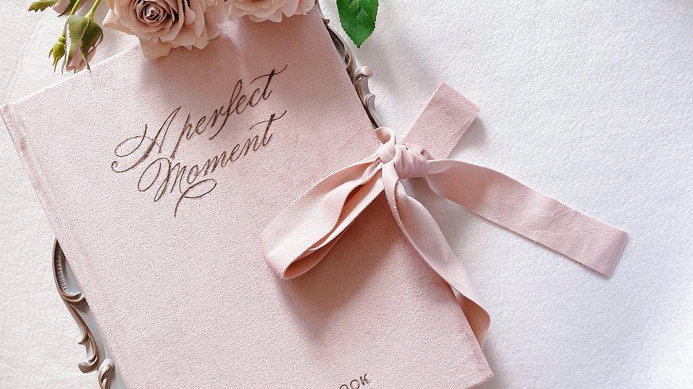VELVET GUEST BOOK 復古絲絨婚禮賓客簽名本| 法式淺粉