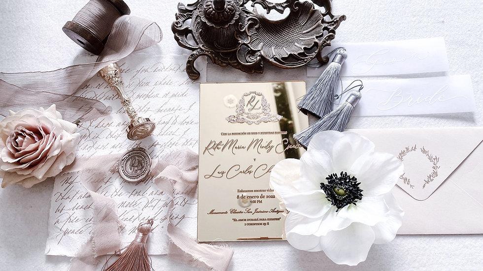 Gold Mirror Acrylic - Antique Wedding Invitation Suite