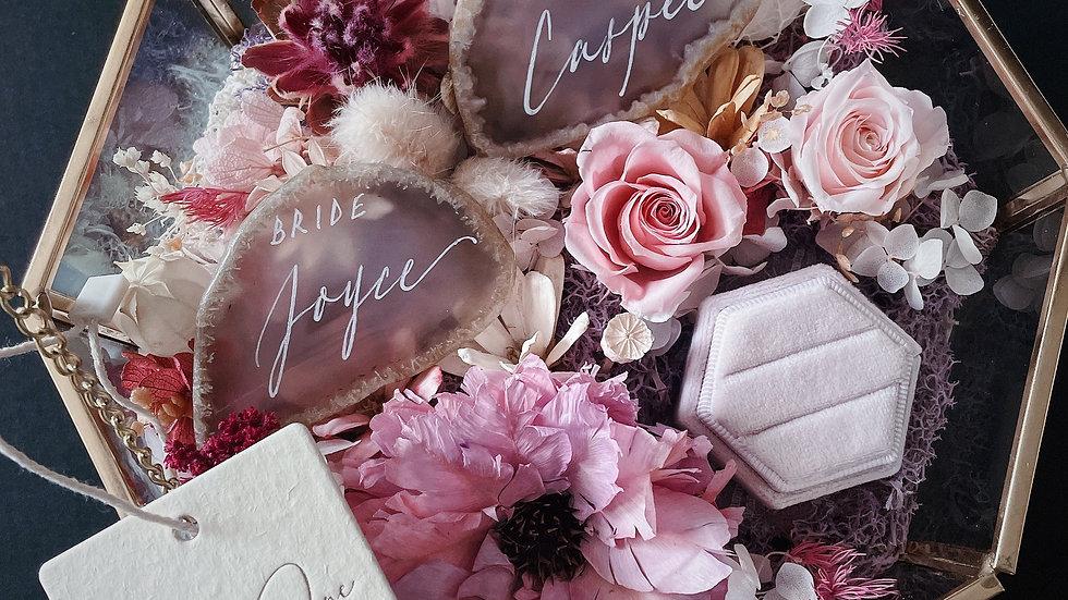 ARTISAN FLOWER RING BOX 永生花 婚禮介指花盒 + 手寫瑪瑙片一對 +空白介指盒