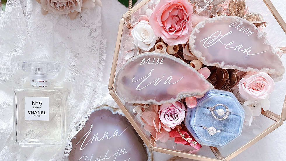永生花 婚禮介指花盒 + 手寫瑪瑙片一對 +空白介指盒