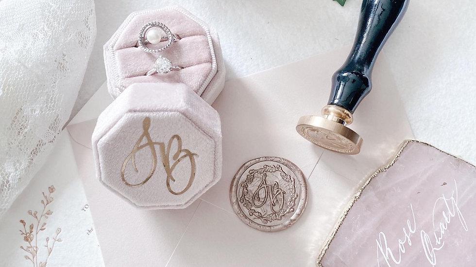 CUSTOM VELVET WEDDING RING BOX 客製 絲絨婚禮介指盒 雙介指 燙金設計 西洋書法設計 (5 COLORS)