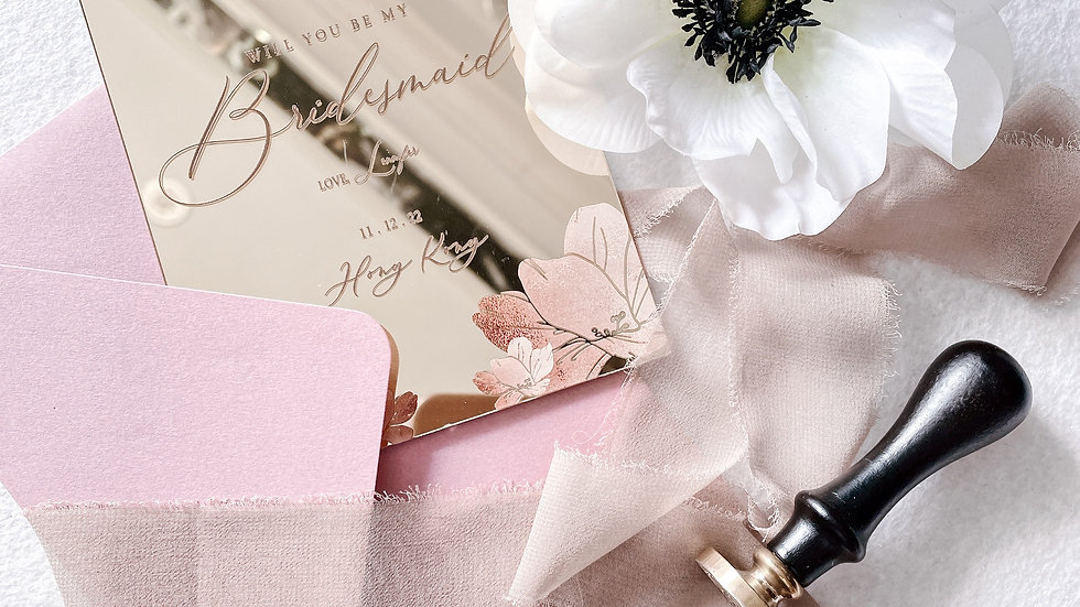 Gold Mirror Acrylic - BRIDESMAID Wedding Invitation ( LESS 10'S)