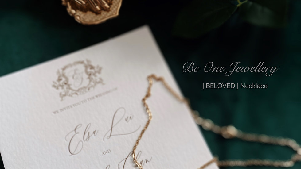 BELOVED - White Crystal Necklace 原石白水晶頸鏈 配客製手寫字母