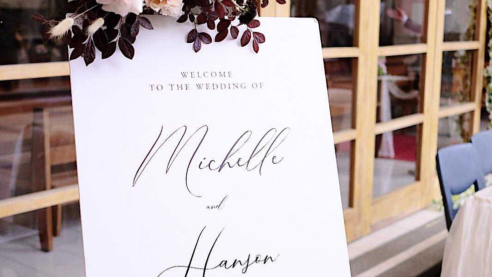 Simply Black & White WEDDING WELCOME BOARD