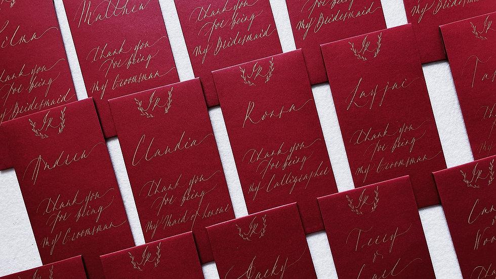 HANDMADE WEDDING RED POCKETS (4'S) 客製 手寫婚禮利是封 姊妹團 英文書法 be one letter 紅包袋4入