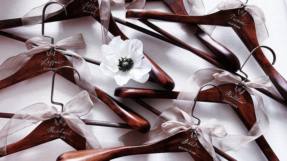 DARK WOOD WEDDING HANGER客製法式婚禮衣架 (2入一組)