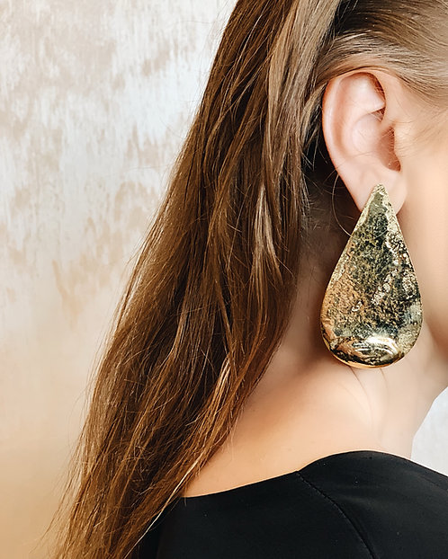 B Drop Earrings - 24k gold-plated