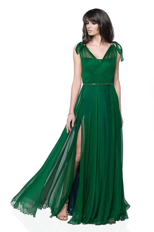 Green Bow Dress - 100% natural silk