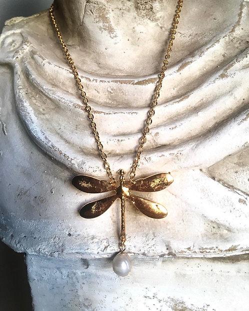 Lănțișor libelulă lichidă placat cu aur 24k