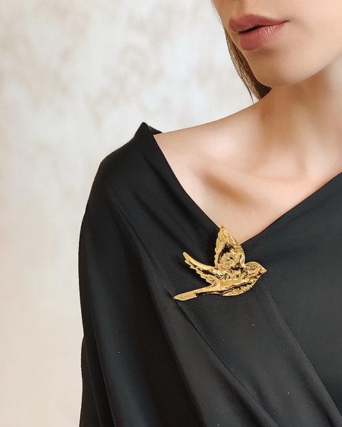 DROP Liquid Bird Brooch - 24k gold-plated