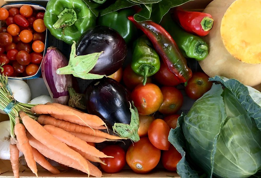 Groente, kistje, vegetables, fresh, bio