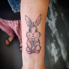 Cute Bunny Tattoo by Larissa Long