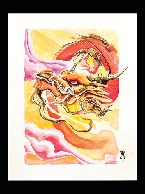 Water Colour Sunset Dragon Print