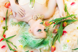 Laying in Flowers Portrait