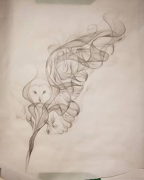 Smokey owl tattoo design by Larissa Long