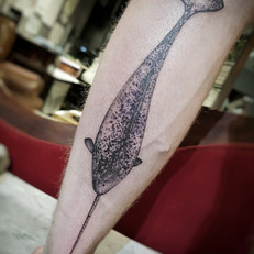 Realistic narwhal tattoo by Larissa Long