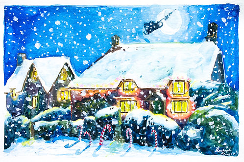 Candy Cane House Christmas Card Print