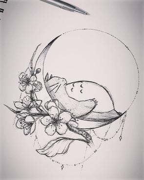 Totoro Tattoo Design by Larissa Long