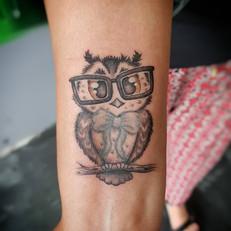 Cute Owl Tattoo by Larissa Long